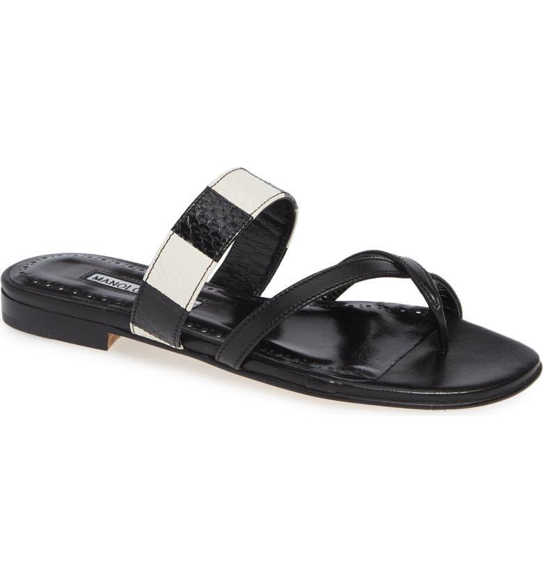 MANOLO BLAHNIK Susa Genuine Snakeskin Sandal, Main, color, 003