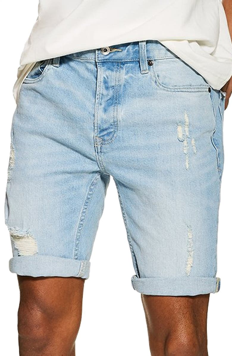 TOPMAN Skinny Fit Ripped Stretch Denim Shorts, Main, color, BLUE