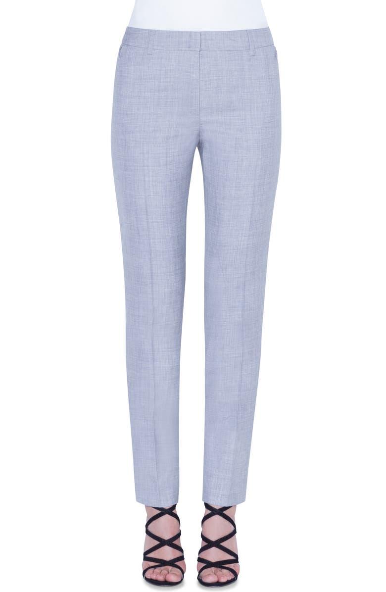 AKRIS Melvin Double Face Wool & Silk Pants, Main, color, 814-SILVER