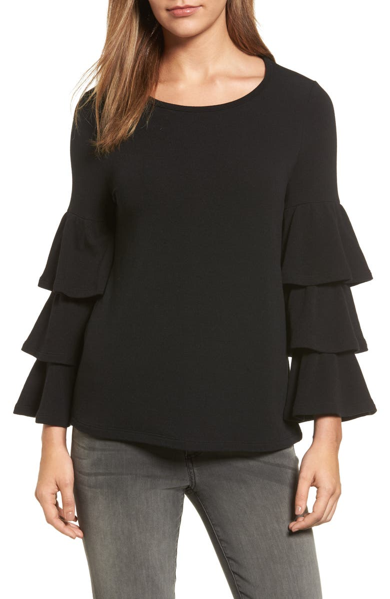 PLEIONE Tiered Bell Sleeve Knit Top, Main, color, 001
