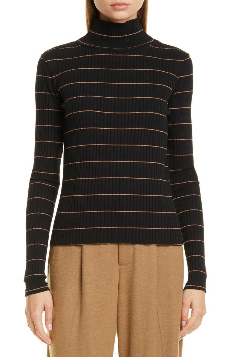 VINCE Stripe Rib Stretch Cotton Turtleneck Sweater, Main, color, BLACK/ AMBRETTE
