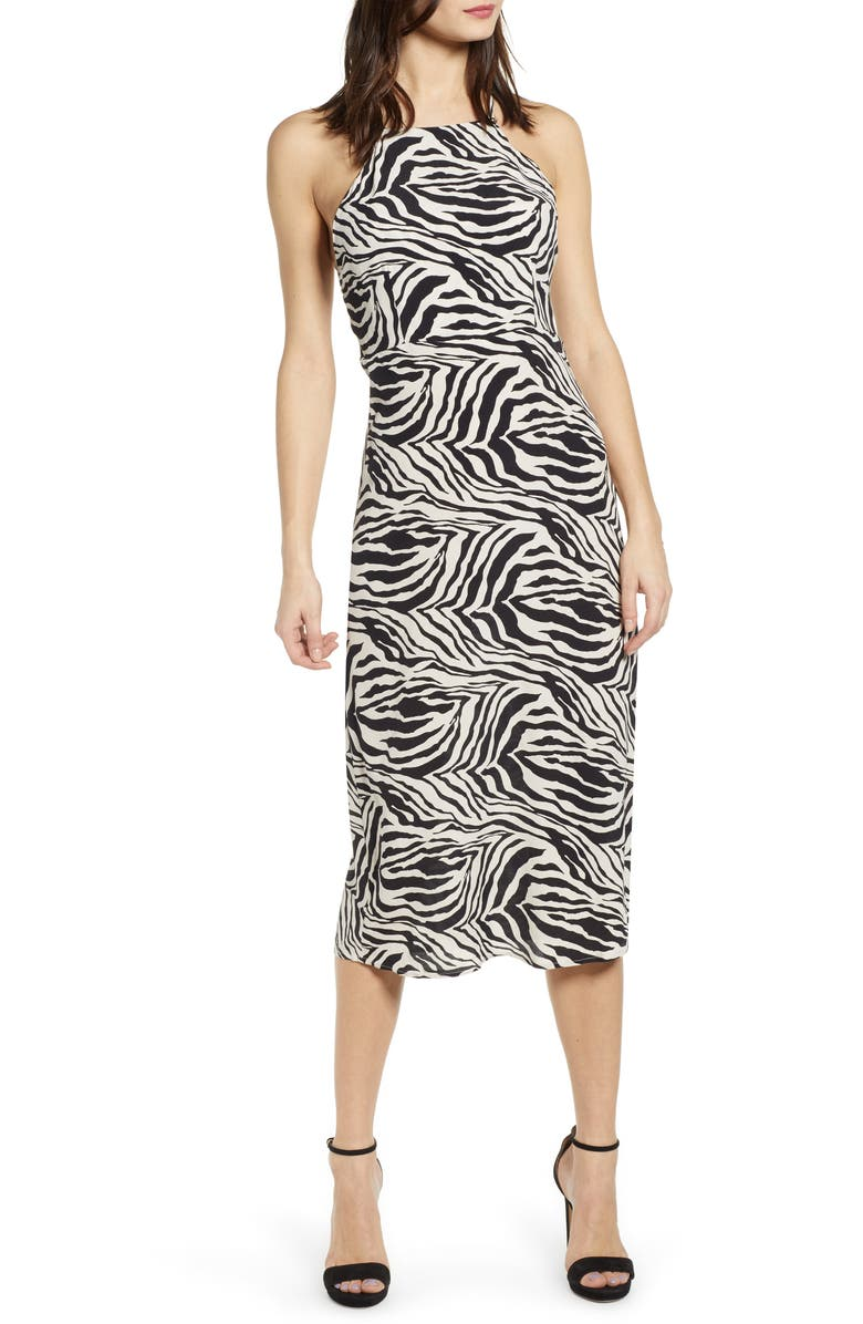 J.O.A. Zebra Print Halter Neck Midi Dress, Main, color, IVORY/ BLACK