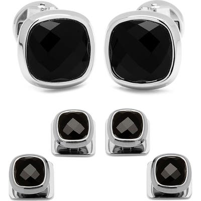 Ox And Bull Trading Co. Onyx Cuff Links & Shirt Stud Set