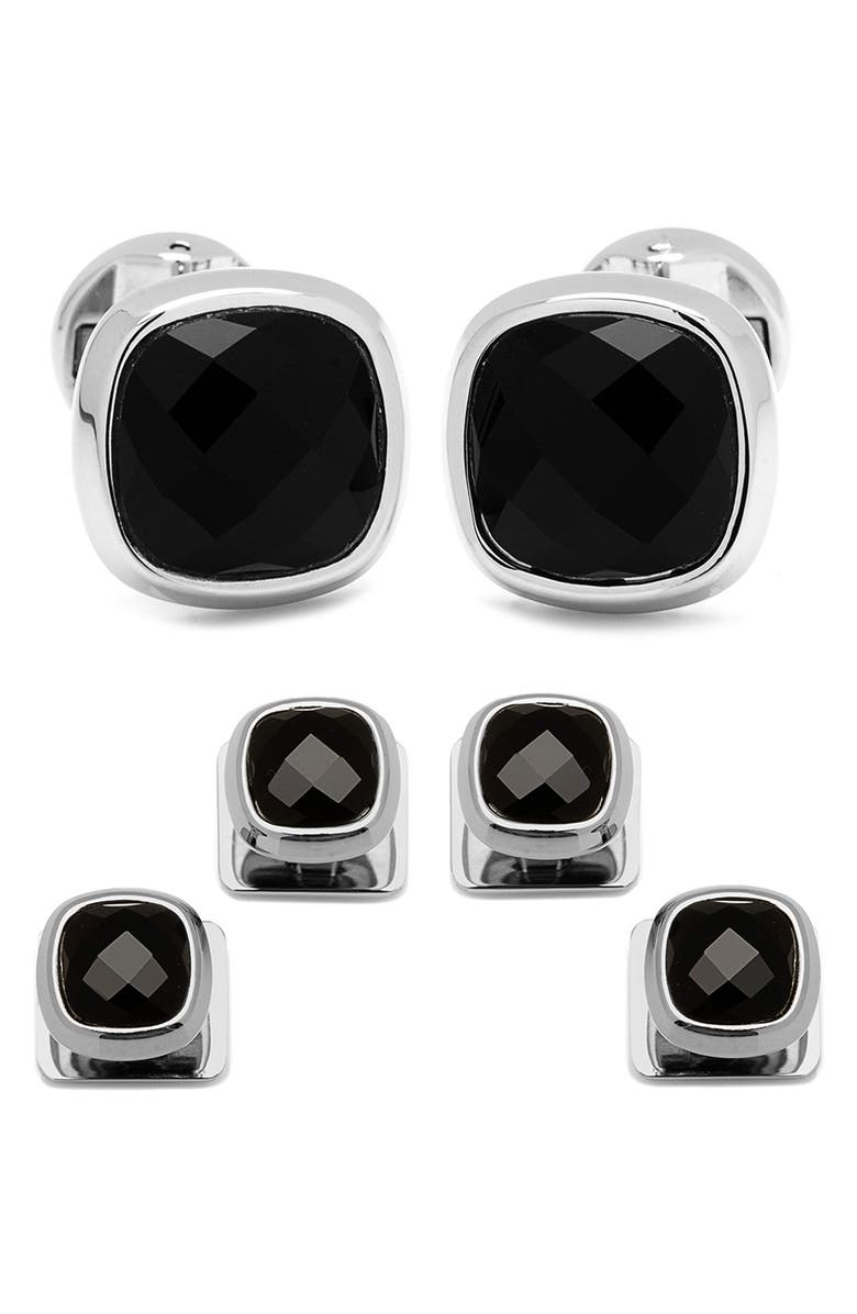 OX AND BULL TRADING CO. Onyx Cuff Links & Shirt Stud Set, Main, color, BLACK