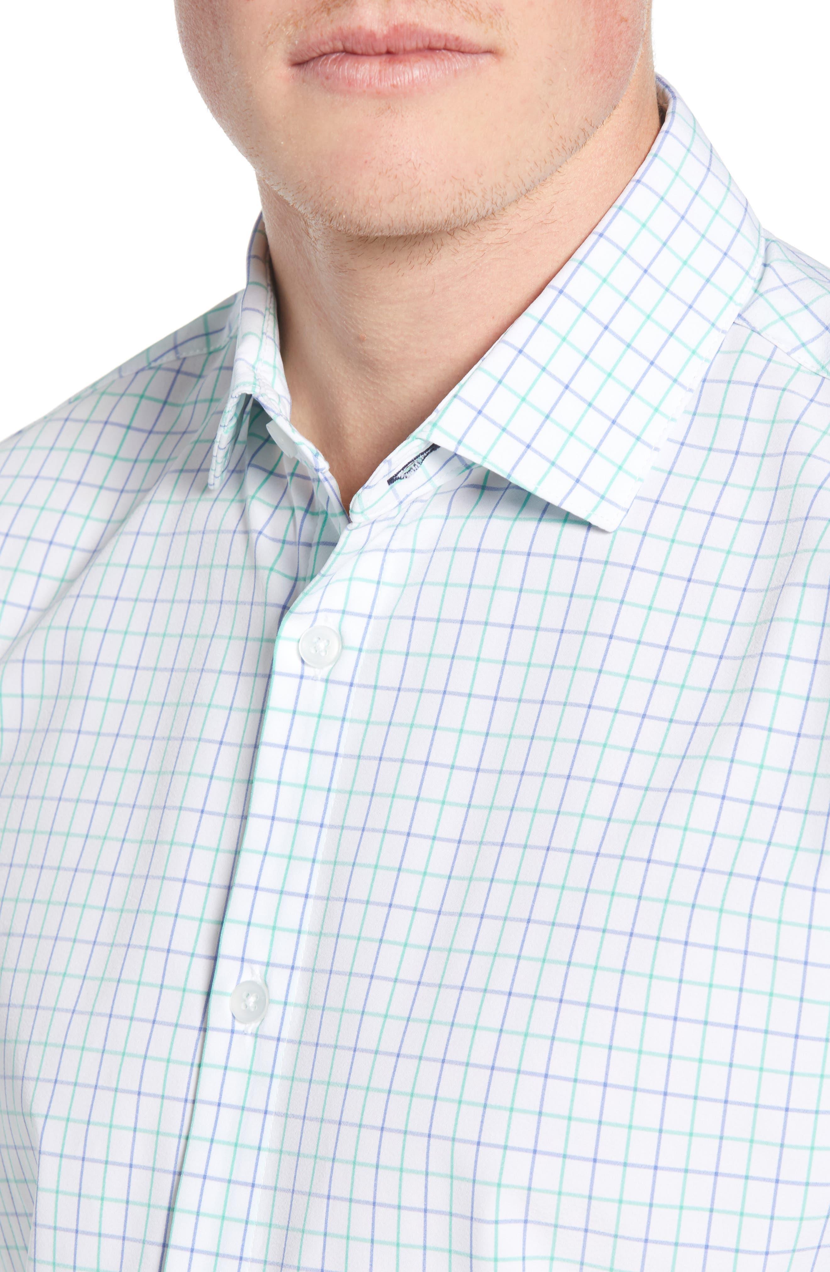 ,                             Hopkins Trim Fit Check Performance Sport Shirt,                             Alternate thumbnail 2, color,                             GREEN