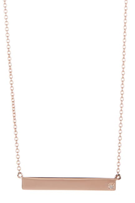 Image of ADORNIA 14K Rose Gold Plated Diamond Bar Pendant Necklace - 0.01 ctw