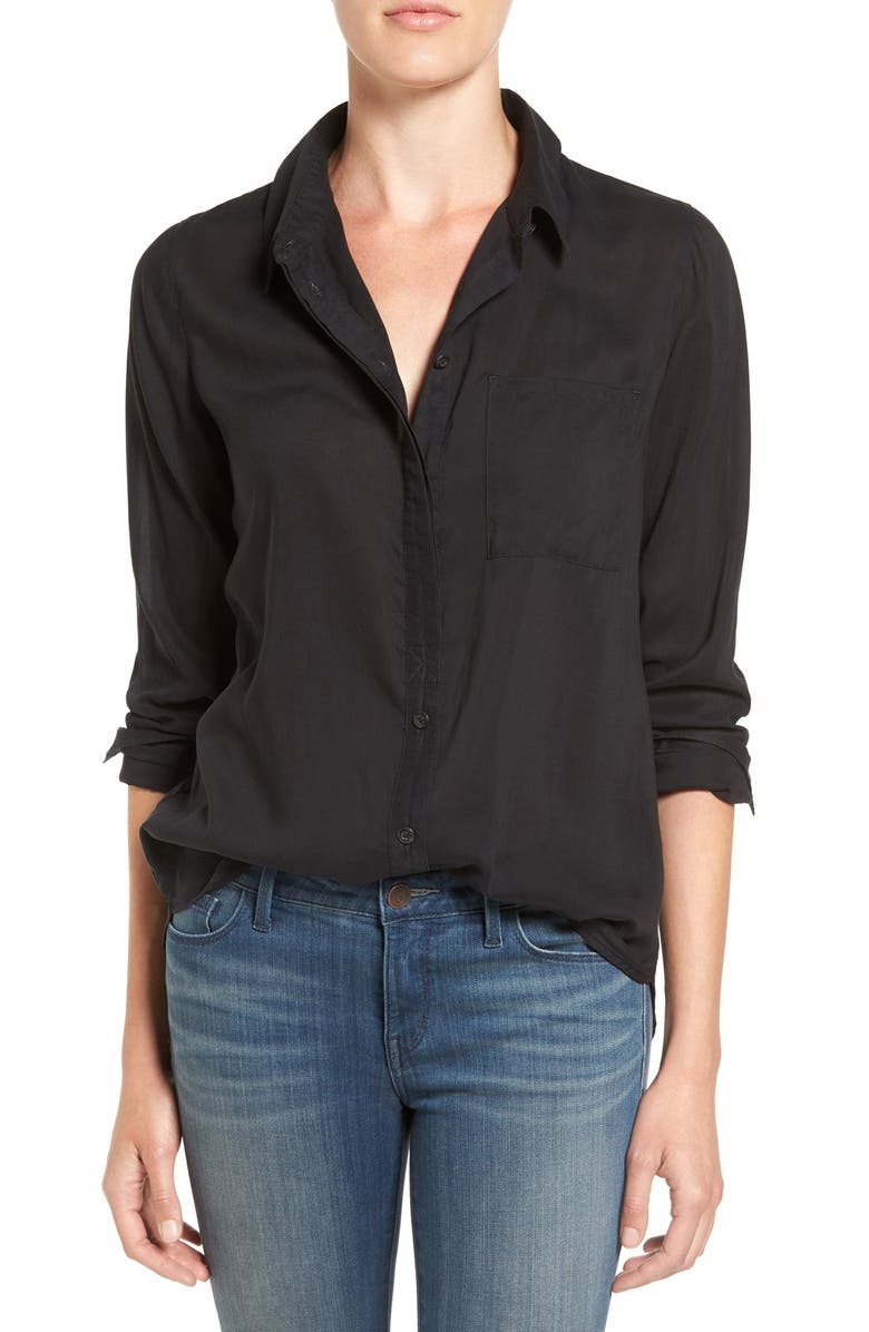 TREASURE & BOND Drapey Classic Shirt, Main, color, BLACK