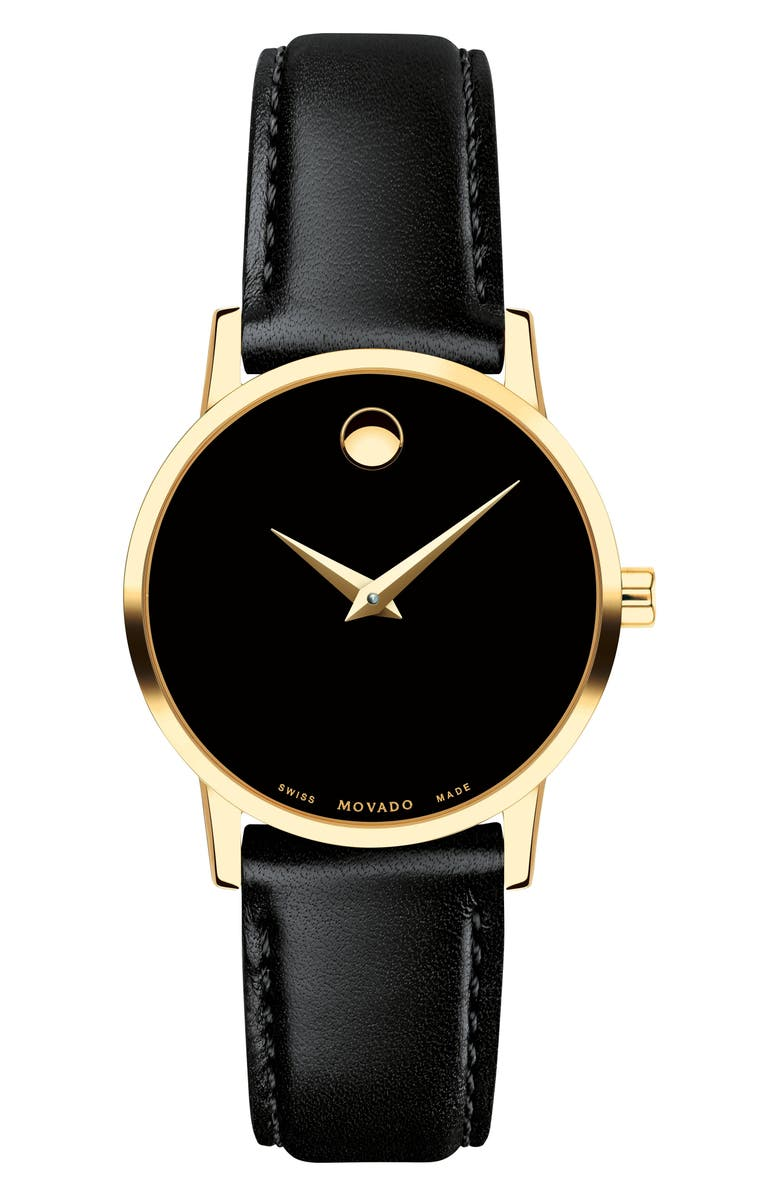 MOVADO Leather Strap Watch, 28mm, Main, color, BLACK/ GOLD