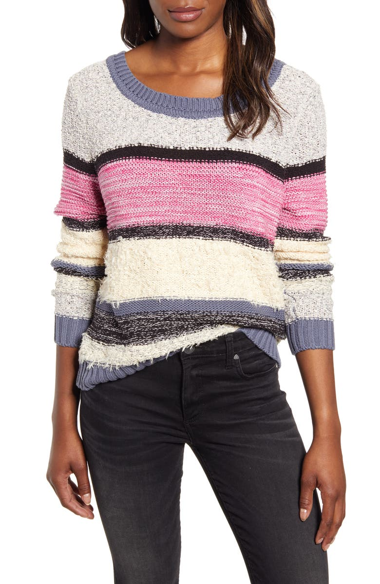 CASLON<SUP>®</SUP> V-Back Stripe Sweater, Main, color, IVORY/ PINK ODETTA STRIPE