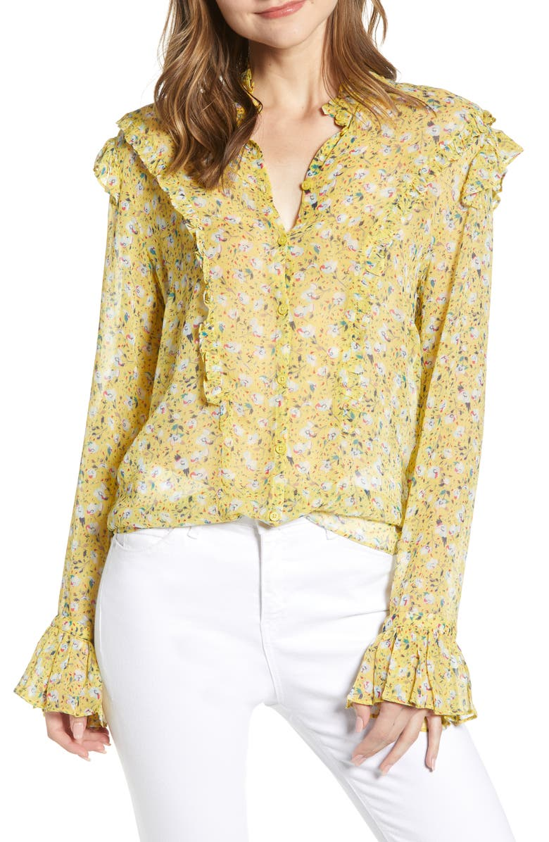 Zadig Voltaire Tweet Anenome Floral Ruffle Blouse