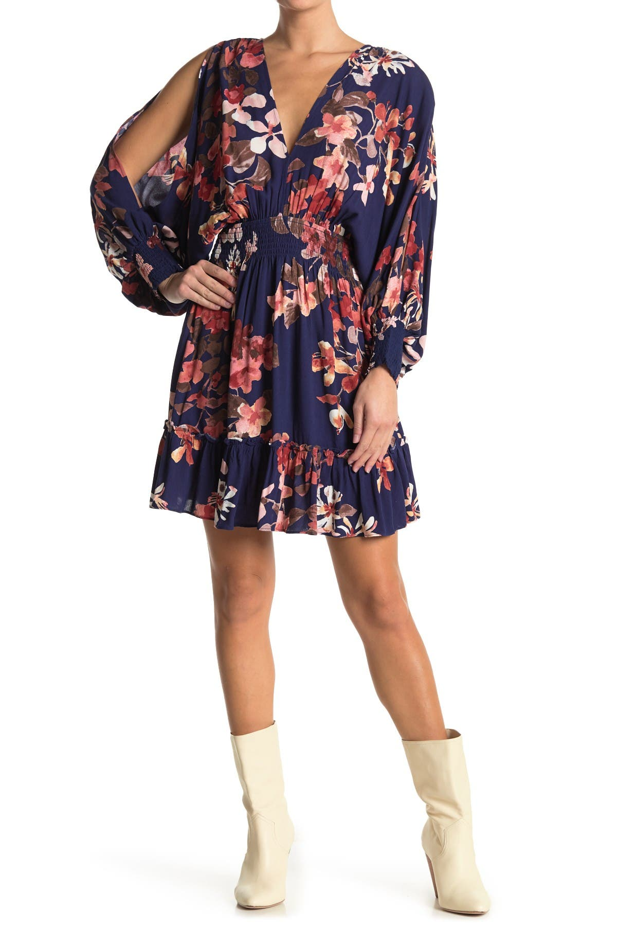 Image of Love Stitch V-Neck Floral Cutout Sleeve Dress
