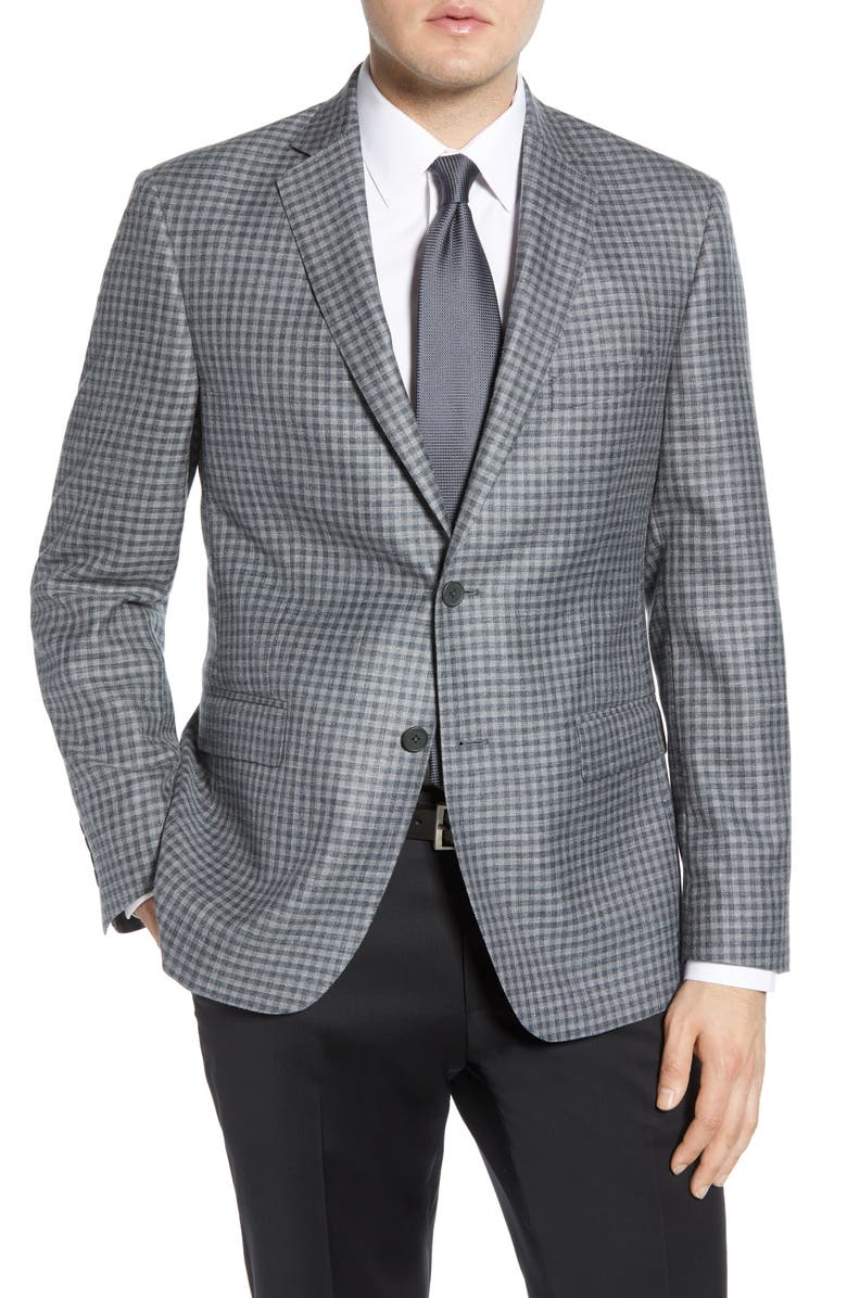 JOHN W. NORDSTROM<SUP>®</SUP> Traditional Fit Check Cotton Blend Sport Coat, Main, color, GREY FILIGREE CHECK