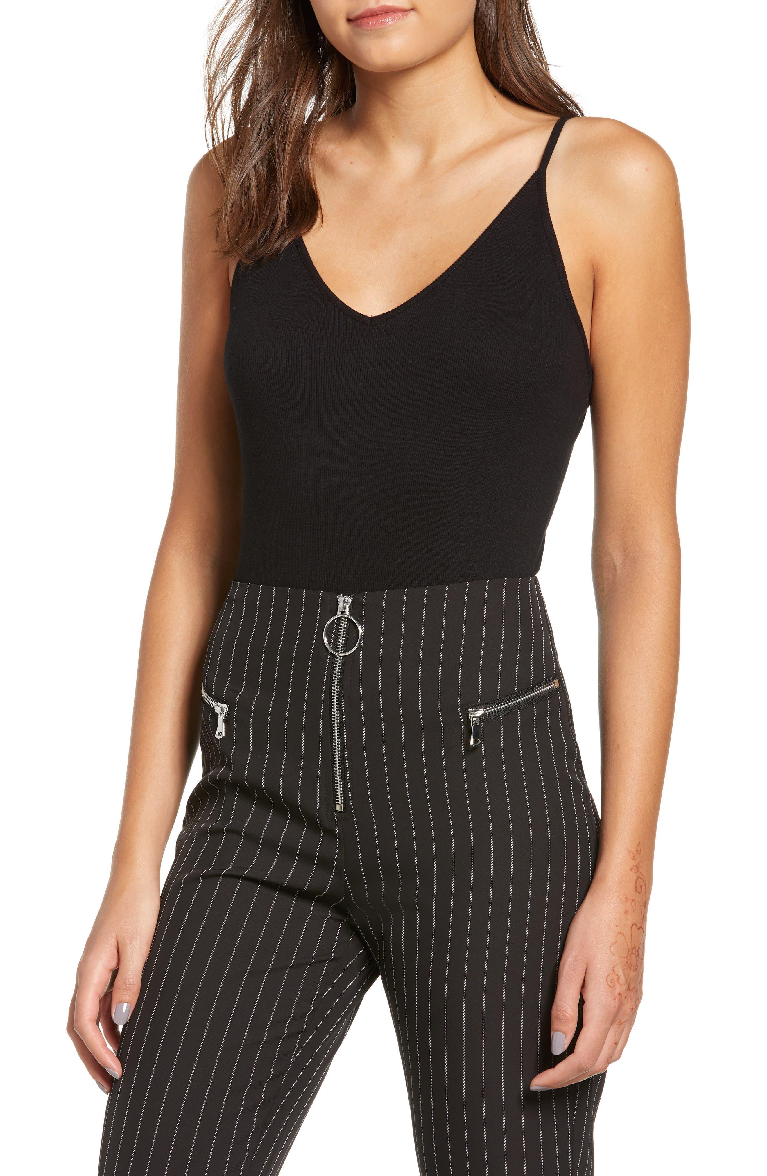 ,                             Rib Knit Bodysuit,                             Main thumbnail 1, color,                             BLACK