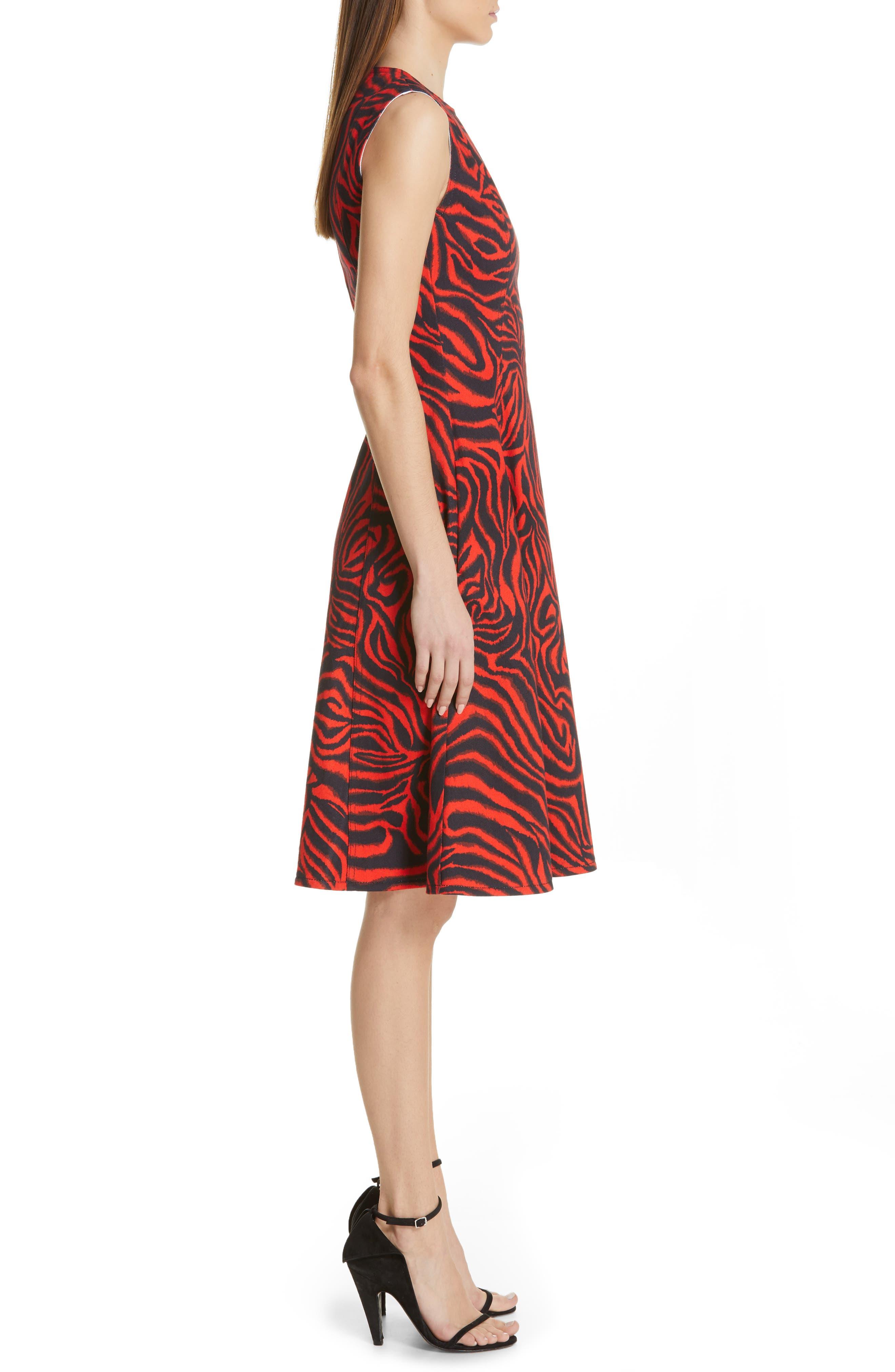 ,                             Zebra Print Denim A-Line Dress,                             Alternate thumbnail 4, color,                             RED ZEBRA