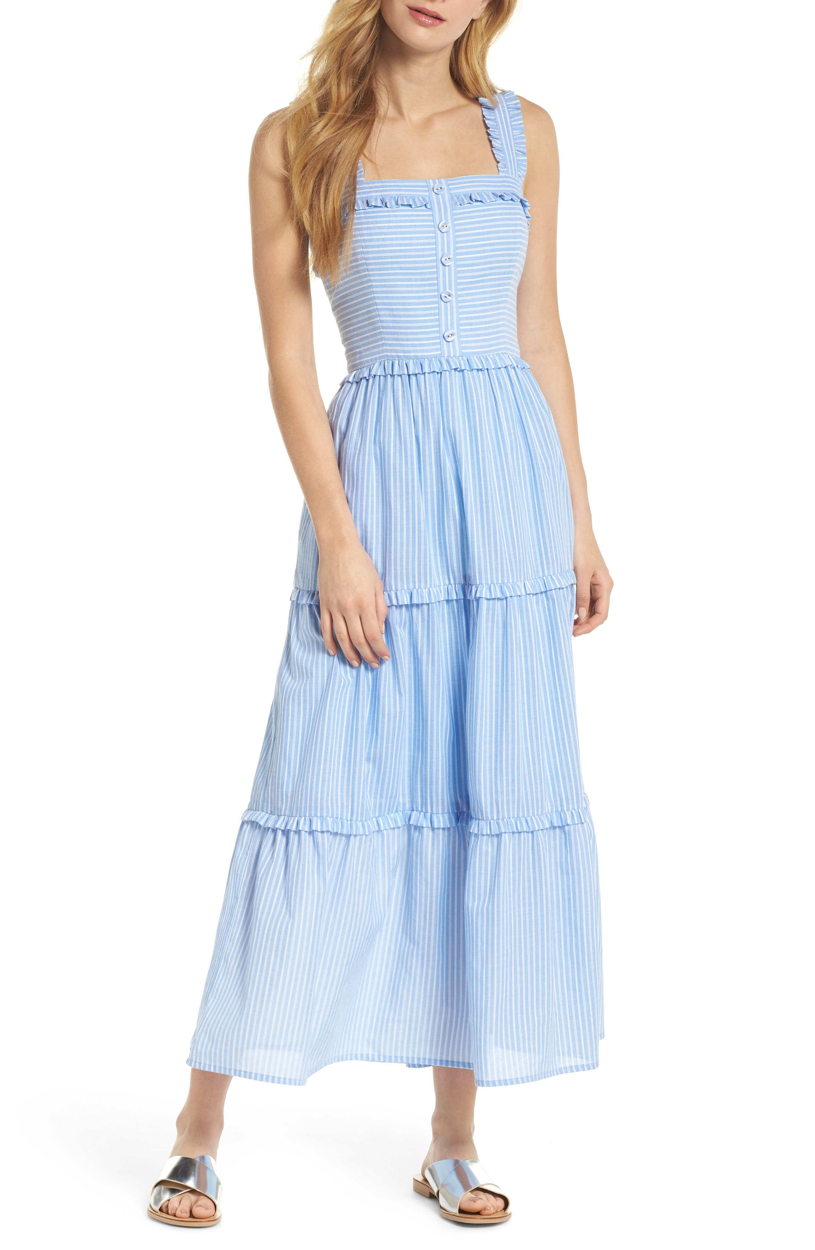 Gal Meets Glam Collection Courtney Rio Stripe Lawn Maxi Dress, Blue