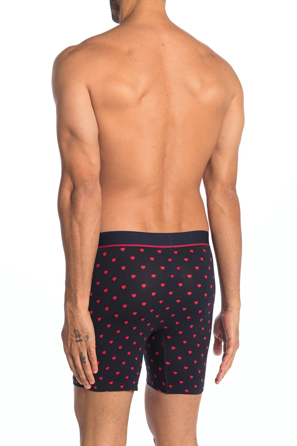 Image of Unsimply Stitched Heart Print Stretch Cotton Trunks