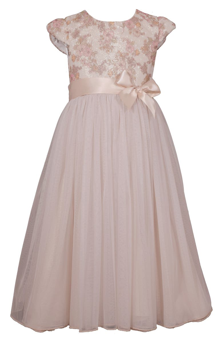 IRIS & IVY Bonded Lace Ballgown, Main, color, IVO