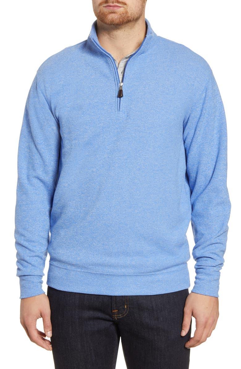 PETER MILLAR Melange Fleece Quarter Zip Pullover, Main, color, CHESAPEAKE