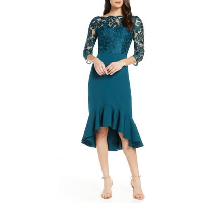 Chi Chi London Amanie Embroidered Yoke High/low Cocktail Dress, Green