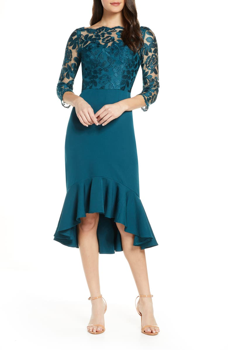 CHI CHI LONDON Amanie Embroidered Yoke High/Low Cocktail Dress, Main, color, TEAL