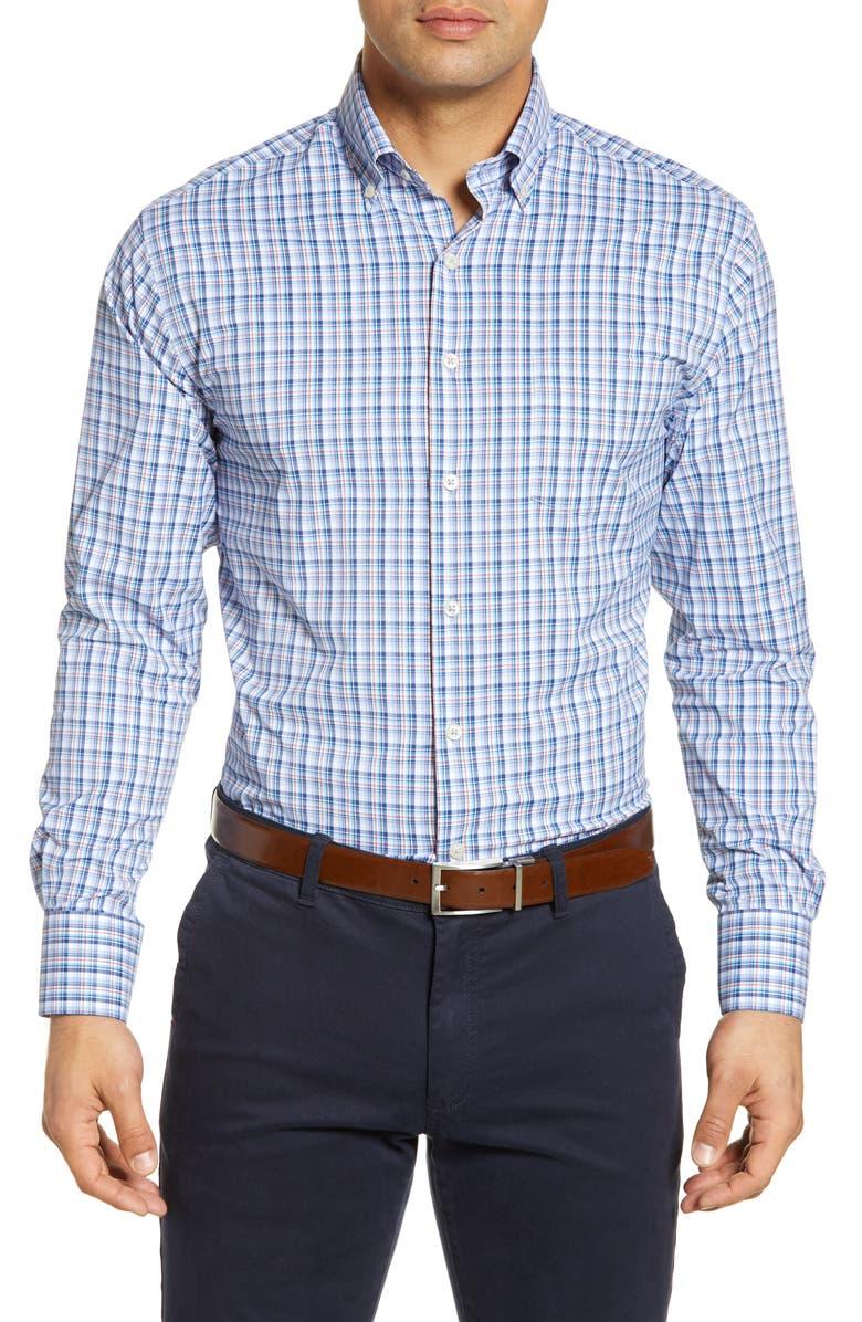 PETER MILLAR Plaid Button-Down Performance Shirt, Main, color, 401