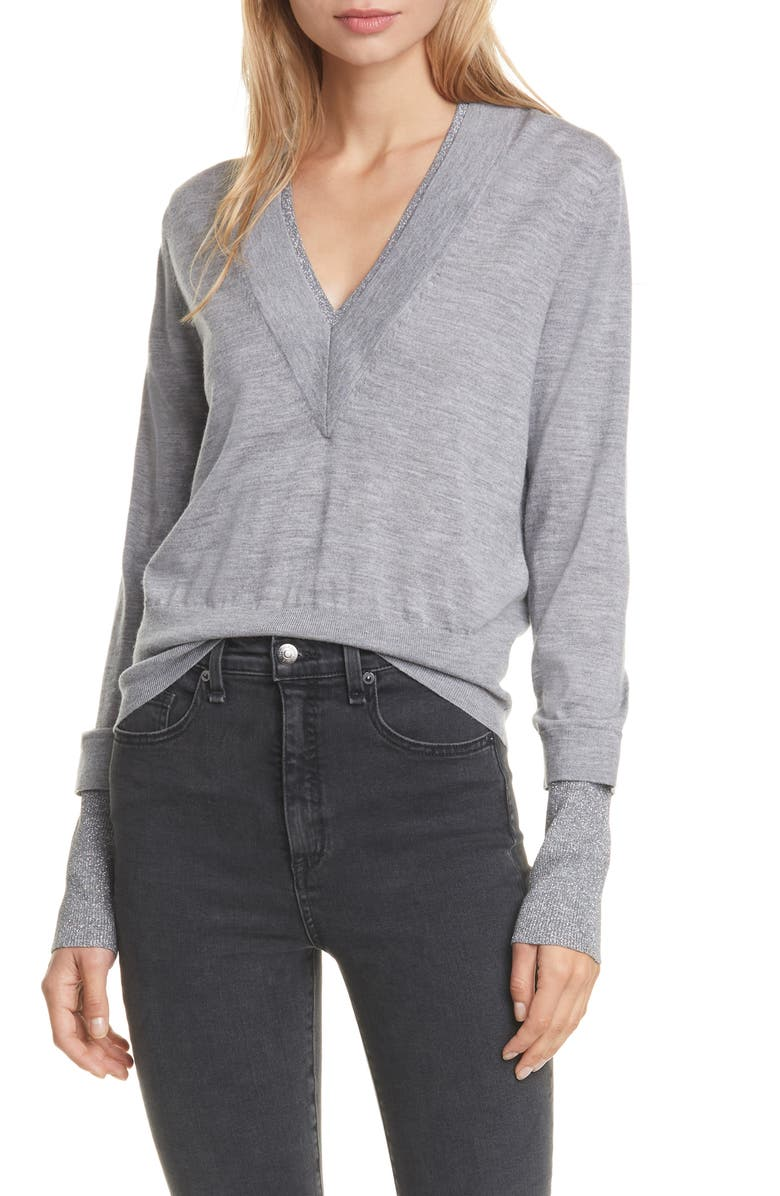 VERONICA BEARD Tatiana Layered Merino Wool Blend Sweater, Main, color, GREY