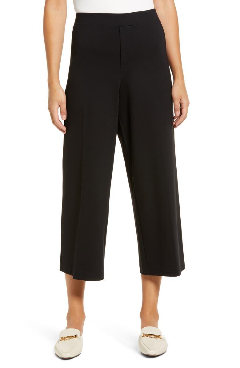 WIT & WISDOM High Waist Crop Wide Leg Pants, Main, color, BLACK