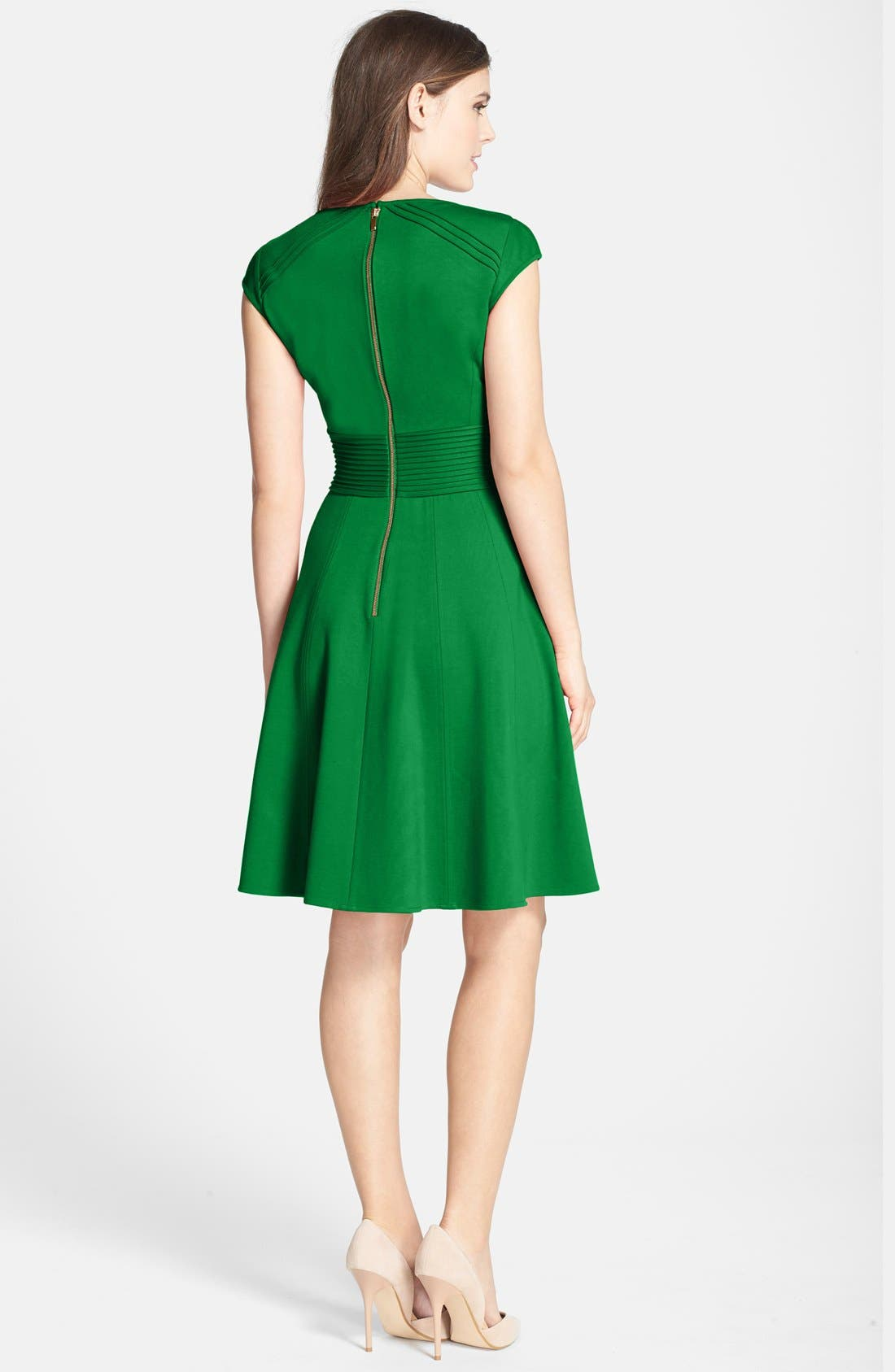 ,                             Pintucked Waist Seamed Ponte Knit Fit & Flare Dress,                             Alternate thumbnail 17, color,                             310