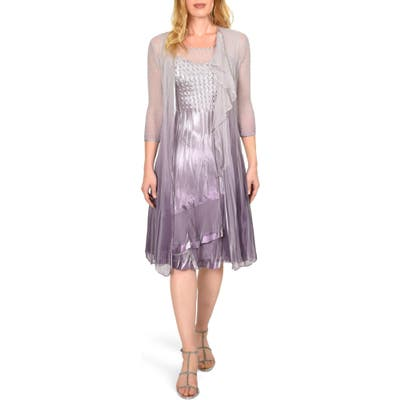 Petite Komarov Charmeuse Dress With Cascade Jacket, Purple