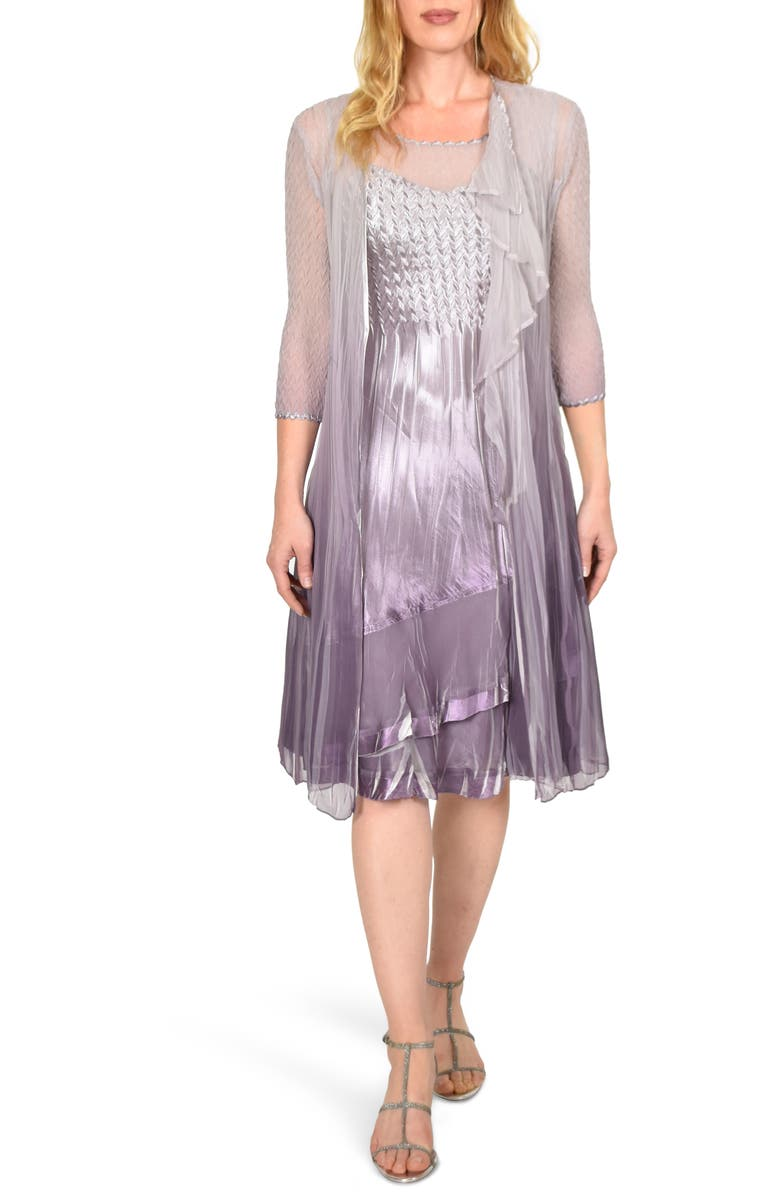 KOMAROV Charmeuse Dress with Cascade Jacket, Main, color, GREY VIOLET ORCHID OMBRE