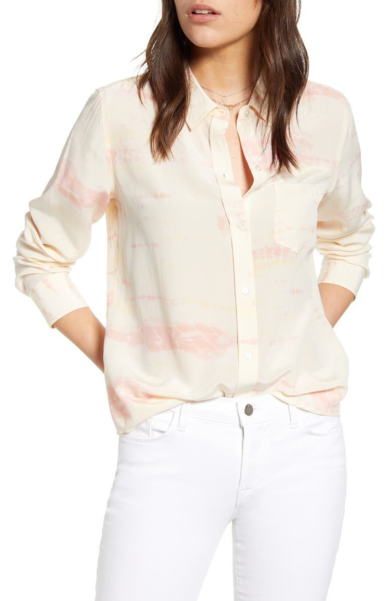 RAILS Kate Silk Shirt, Main, color, SUNBURST TIE DYE