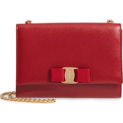 Salvatore Ferragamo Mini Vara Leather Crossbody Bag - Red