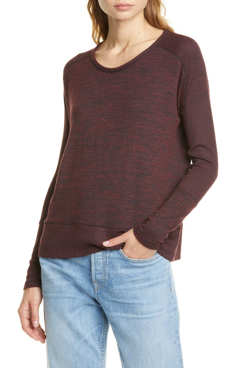 RAG & BONE Ramona Rib Detail Sweater, Main, color, DARK CRANBERRY