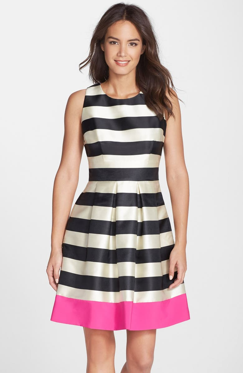 ELIZA J Stripe Crepe Fit & Flare Dress, Main, color, 011