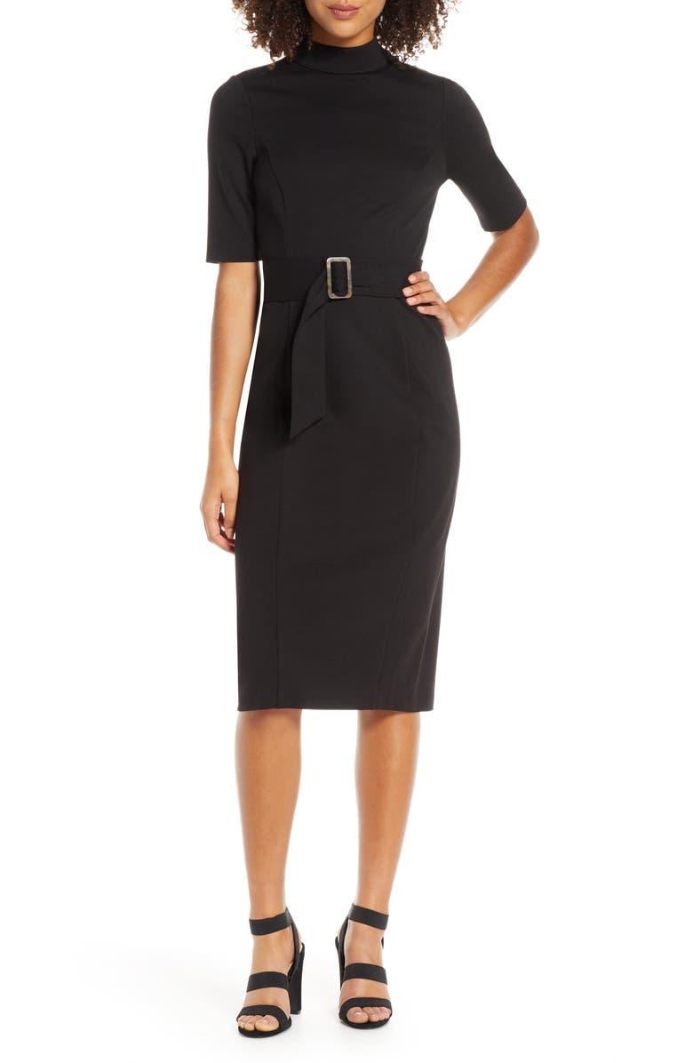 CHELSEA28 Belted Mock Neck Sheath Dress, Main, color, 001