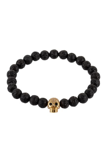 Image of Eye Candy Los Angeles Chakra Beaded Skull CZ Stretch Bracelet