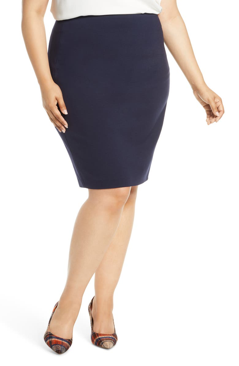 VINCE CAMUTO Ponte Knit Skirt, Main, color, CLASSIC NAVY