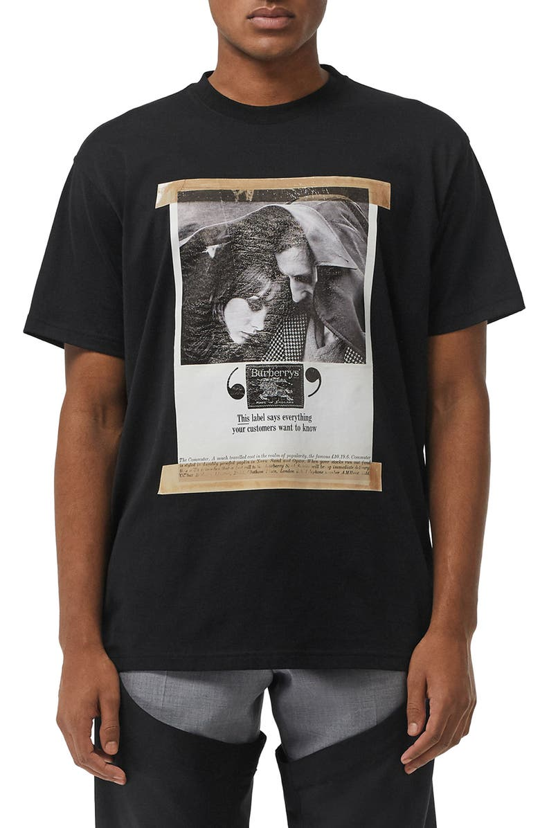 BURBERRY Nickstone Graphic T-Shirt, Main, color, BLACK