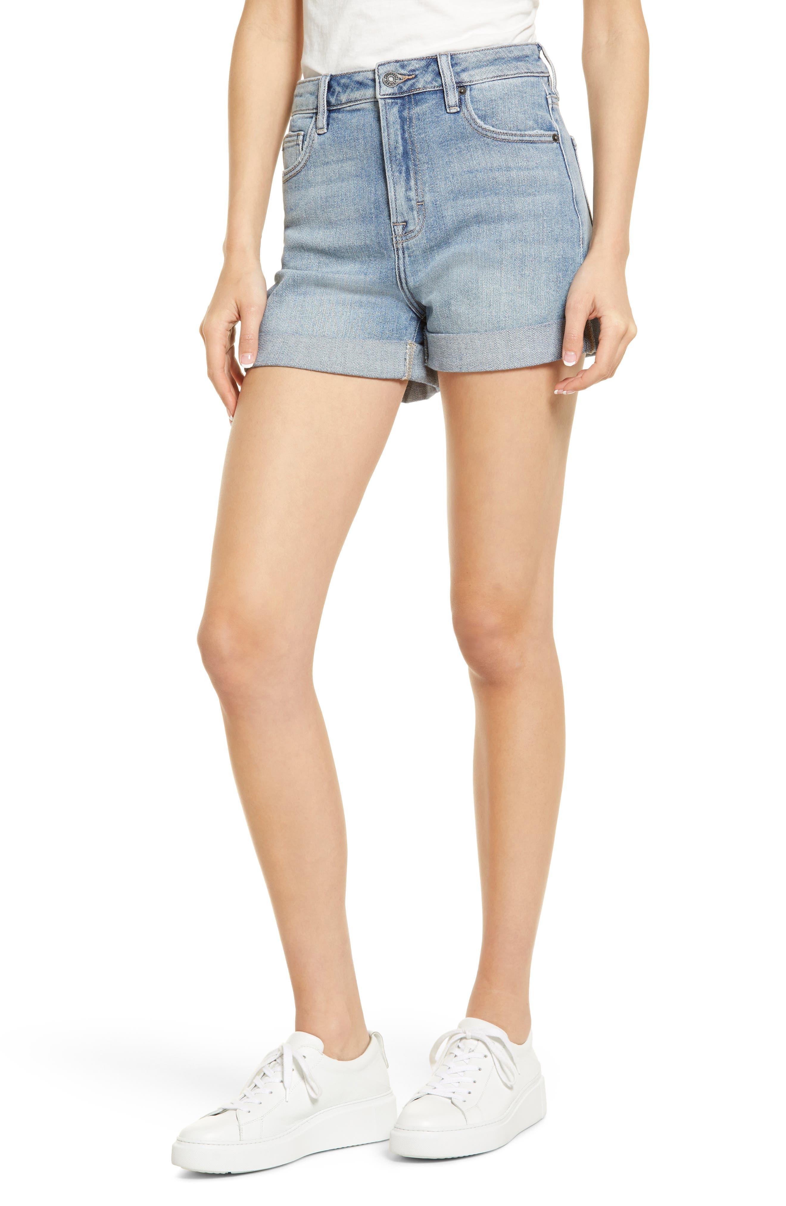 High Waist Cuff Denim Mom Shorts