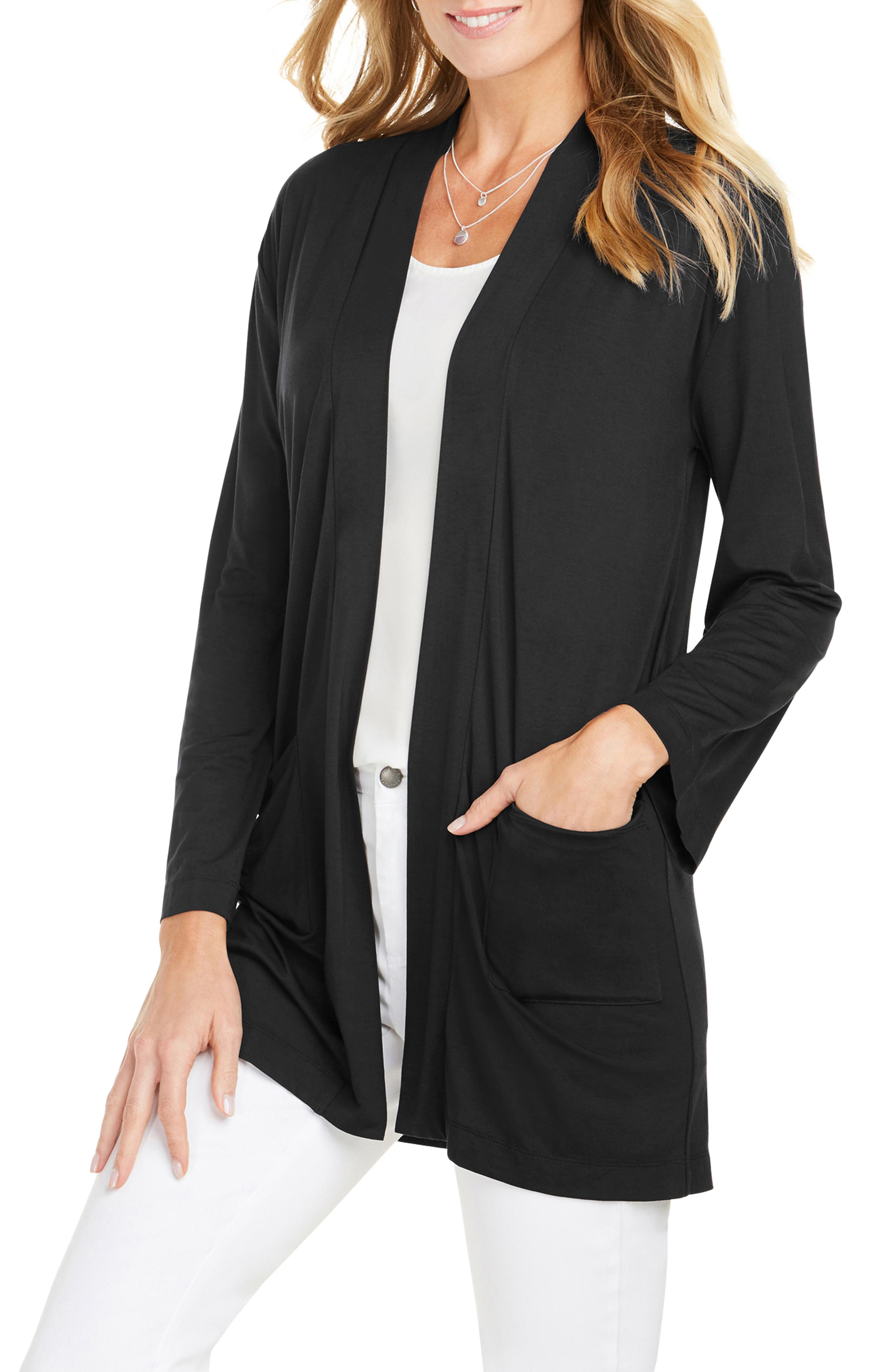 Foxcroft Lessie Jersey Knit Open Front Cardigan, Black