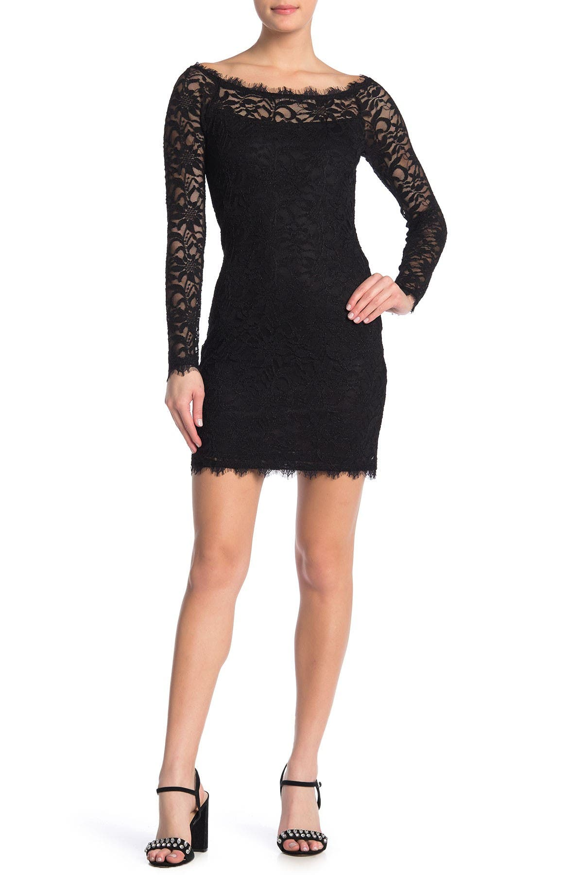 Image of JUMP Long Sleeve Lace Bodycon Dress