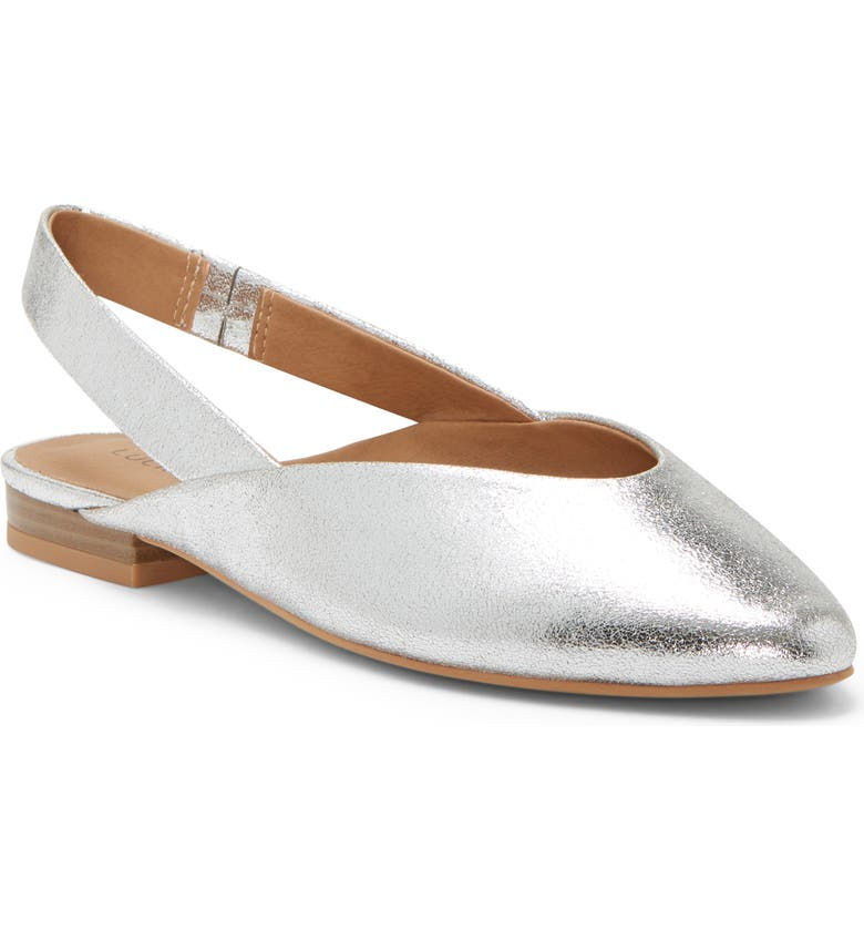 LUCKY BRAND Benten Slingback Flat, Main, color, SILVER LEATHER