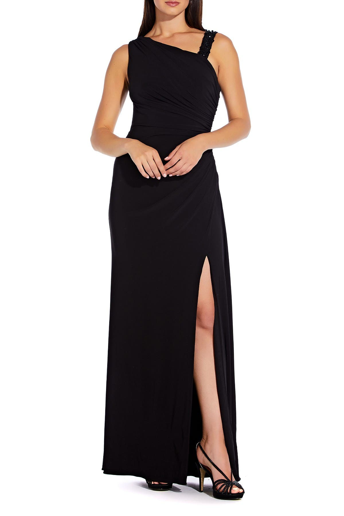 Image of Adrianna Papell Asymmetrical Neck Vent Dress