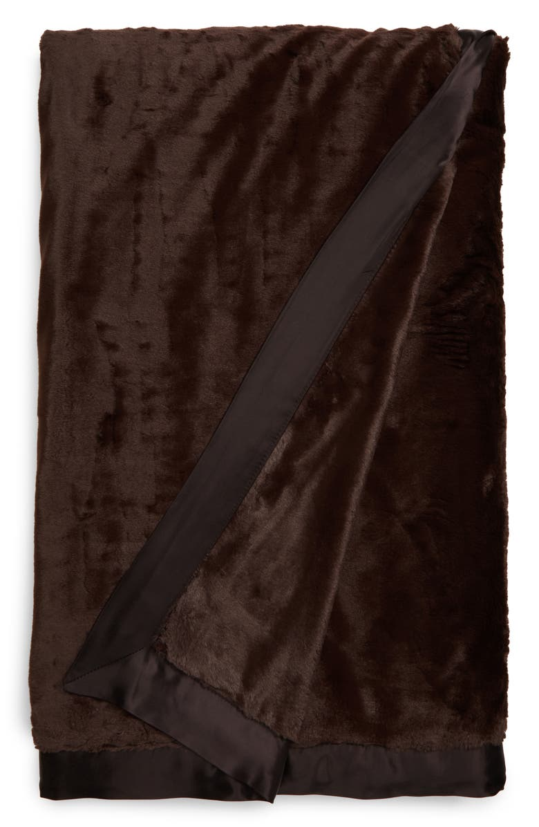 GIRAFFE AT HOME Luxe<sup>™</sup> Faux Fur Throw, Main, color, CHOCOLATE