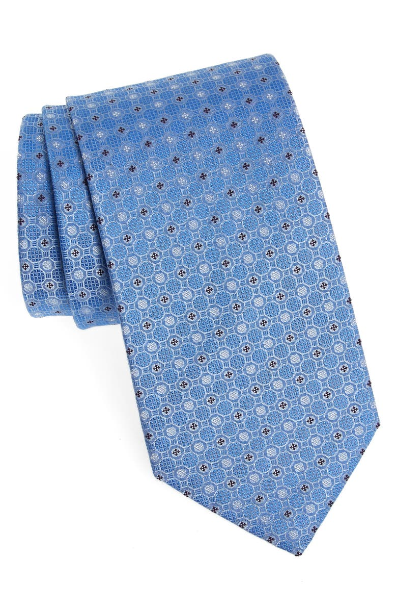 ETON Geometric Silk Tie, Main, color, BLUE