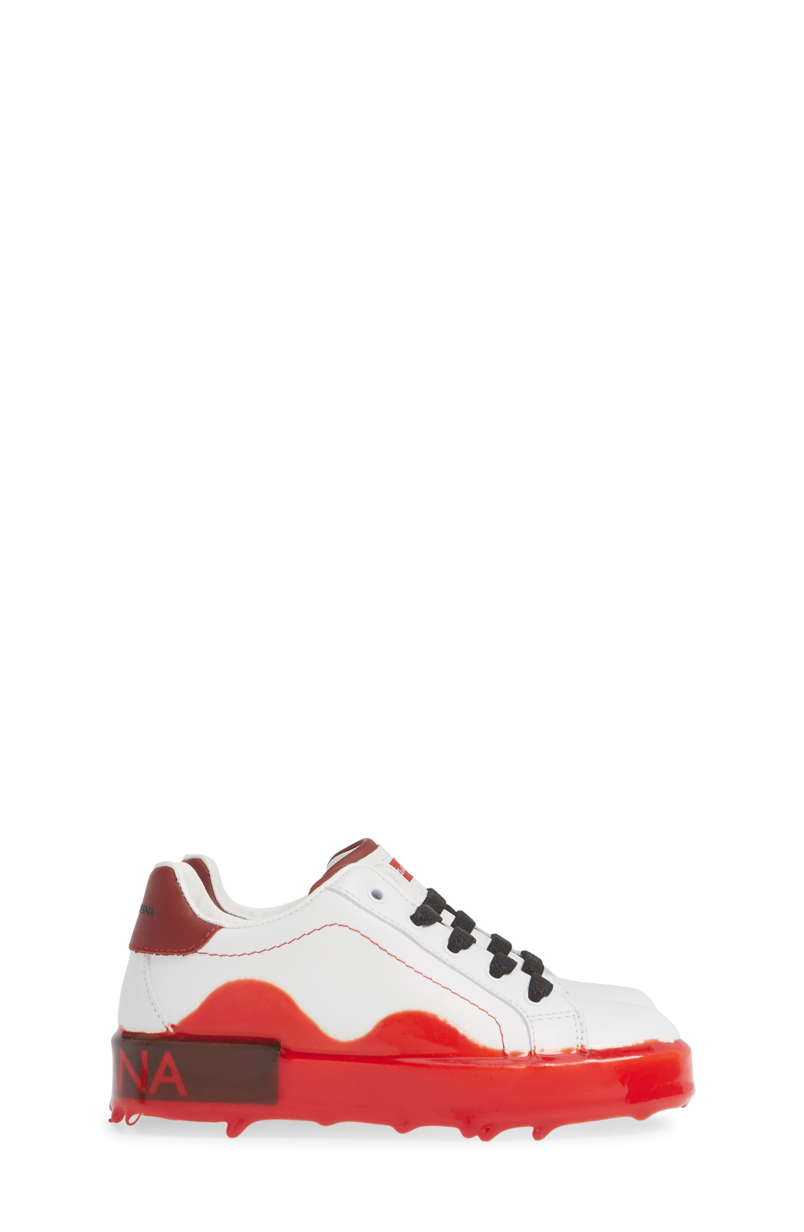 ,                             Dipped Sole Low Top Sneakers,                             Alternate thumbnail 4, color,                             WHITE/ RED