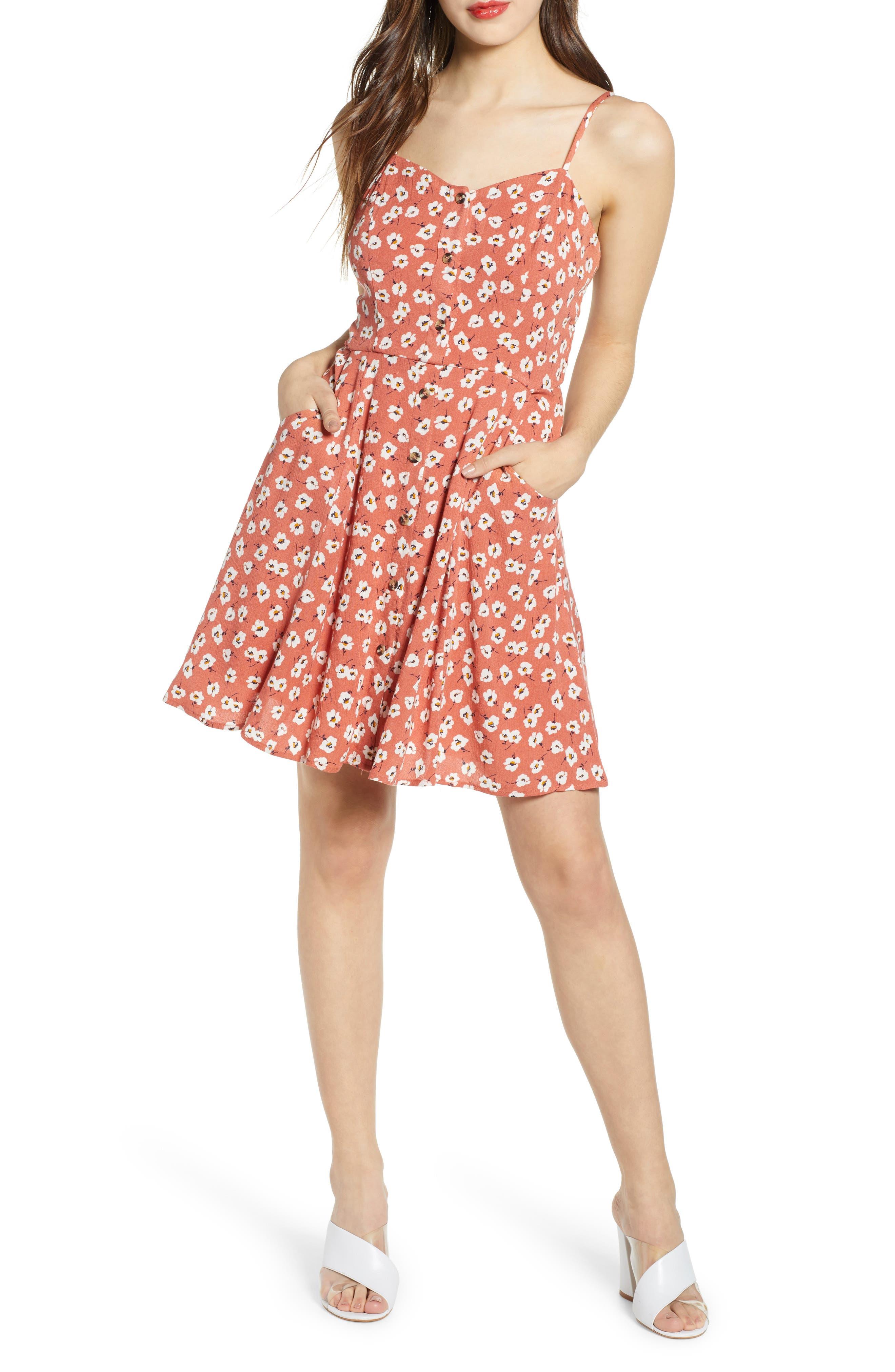 Love, Nickie Lew Floral Print Skater Dress, Coral