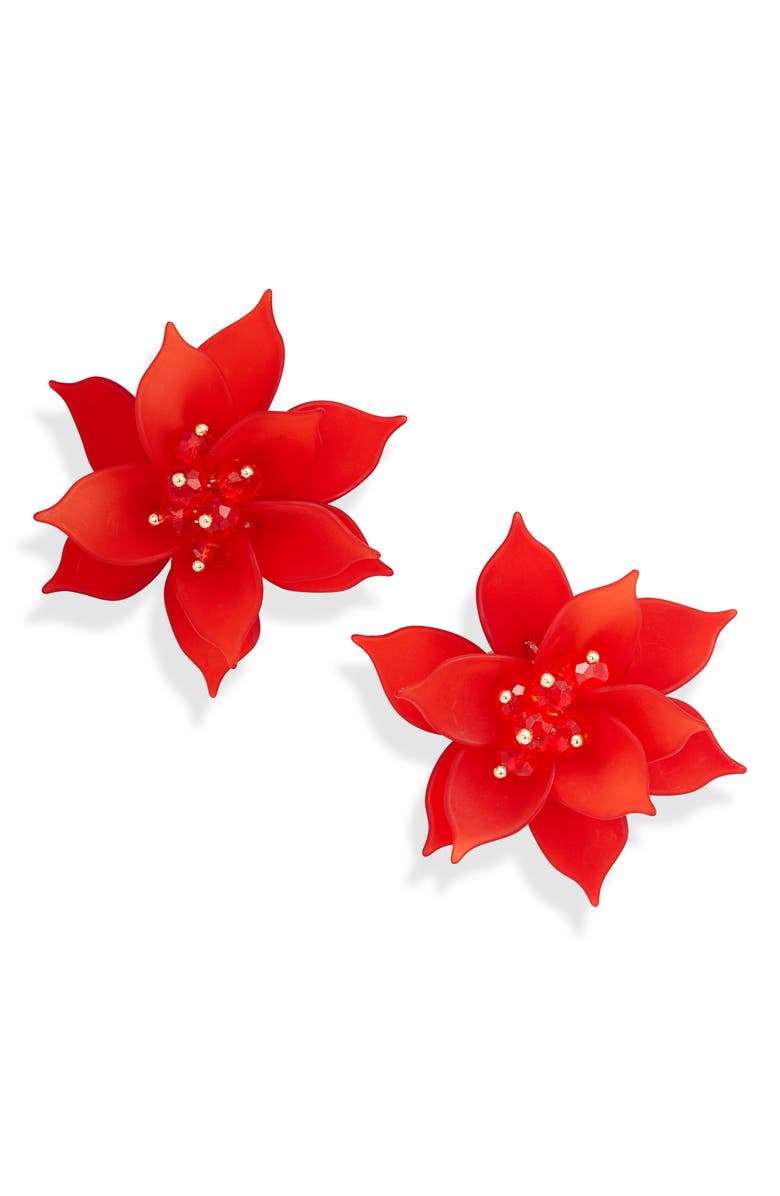 RACHEL PARCELL Flower Statement Earrings, Main, color, RED- GOLD