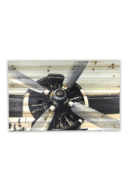 """Image of Gallery 57 Plane Close Up Wooden Wall Art - 36"""" x 24"""""""
