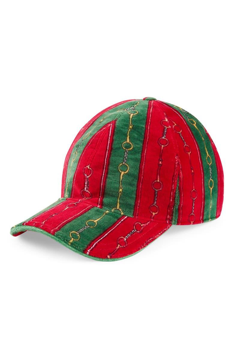 GUCCI Horsebit Chenille Cap, Main, color, GREEN RED